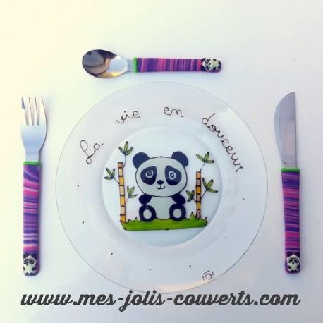 Assiette + 3 couverts Panda