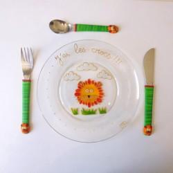 Assiette + 3 couverts Lion