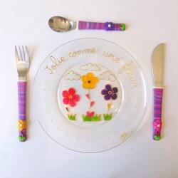 Assiette + 3 couverts Fleur