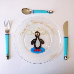 Assiette + 3 couverts Pingouin