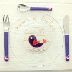 Assiette + 3 couverts Oiseau