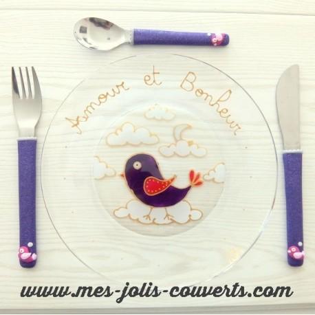 """L' ensemble assiette + 3 couverts Oiseau """"Amour et bonheur"""""""