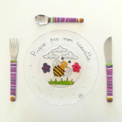 Original coffret assiette et 3 couverts abeilles - Mes Jolis Couverts