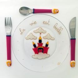 Assiette + 3 couverts Princesse