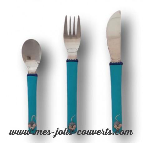 Vaisselle petite souris de couleur bleu turquoise, c' est trop mignon avec mon prénom!