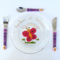 Joli coffret assiette et couverts enfant papillon, fabrication artisanale.