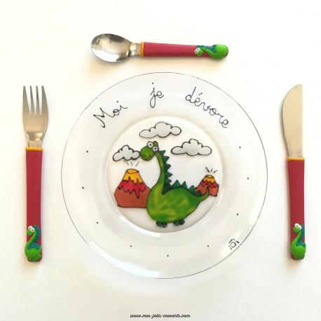 L' assiette et ses 3 petits couverts enfant Dinosaure