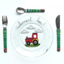 Assiette + 3 couverts tracteur