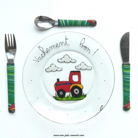 Assiette + 3 couverts tracteur et vache