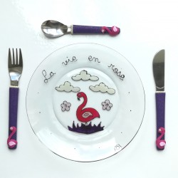 Assiette + 3 couverts Flamant-Rose